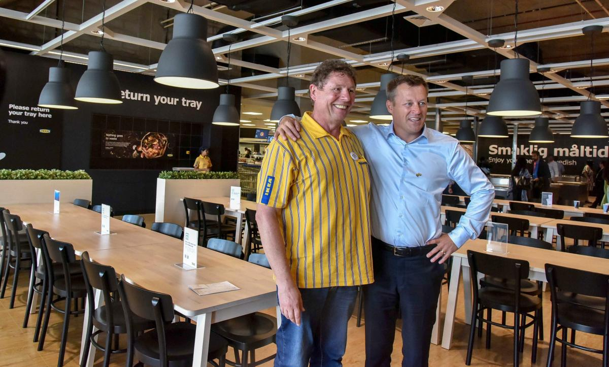 IKEA Group CEO Jesper Brodin (R) with company's India CEO Peter Betzel pose for photograph during a press conference on the eve of IKEA's first India store, in Hyderabad on Wednesday, Aug 8, 2018. (PTI Photo)