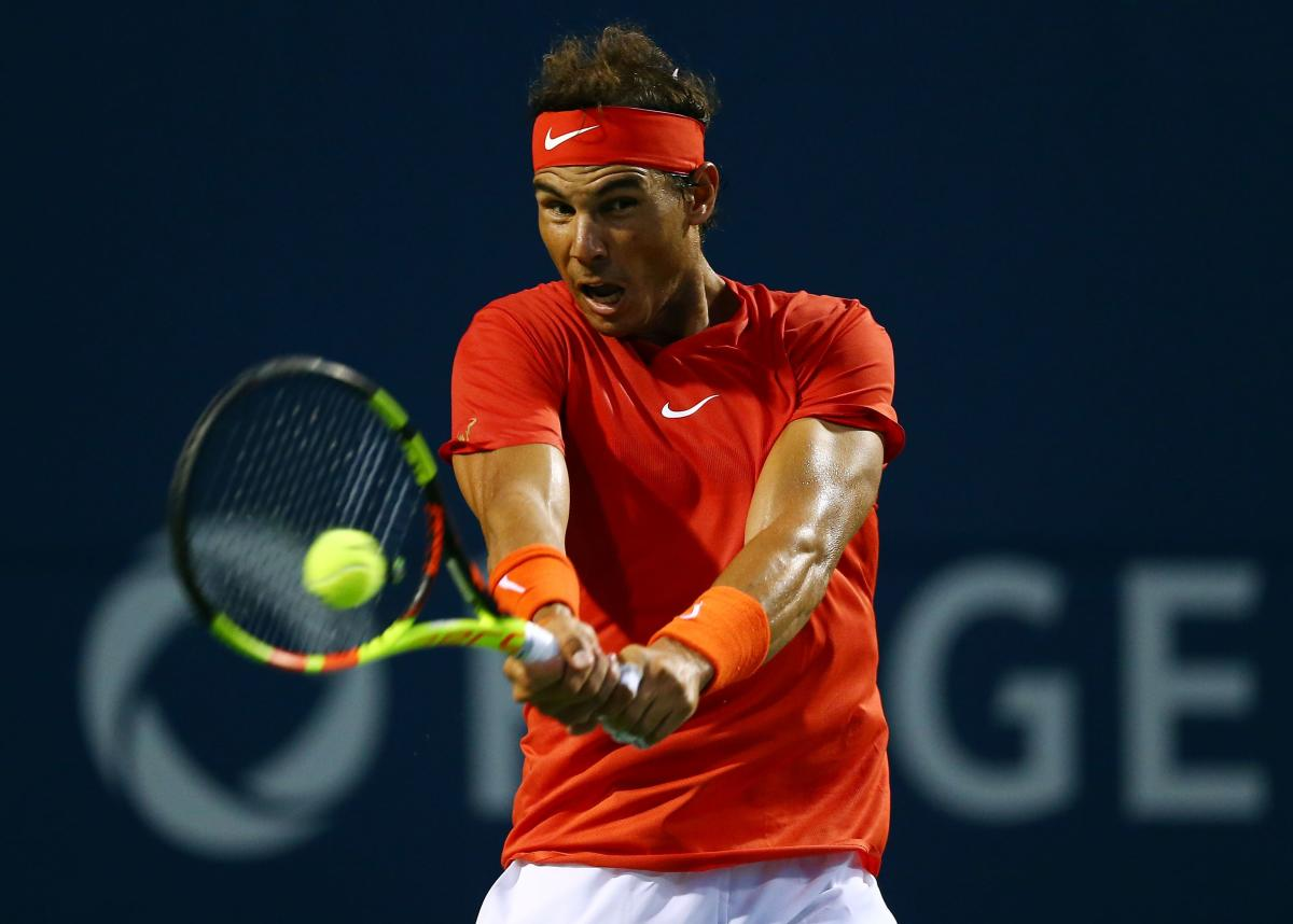 Rafael Nadal of Spain returns to Benoit Paire of France in the Rogers Cup on Wednesday. AFP