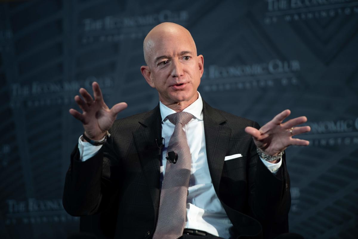 Jeff Bezos, founder and CEO of Amazon, speaks during the Economic Club of Washington's Milestone Celebration event in Washington, DC, on September 13, 2018. AFP