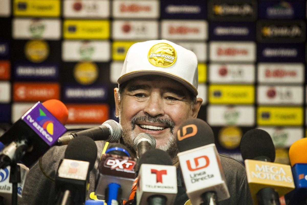 Argentine legend Diego Maradona speaks during a press conference after his first match as coach of Mexican second-division club Dorados, against Cafetaleros, in Culiacan, Mexico, on Monday. AFP