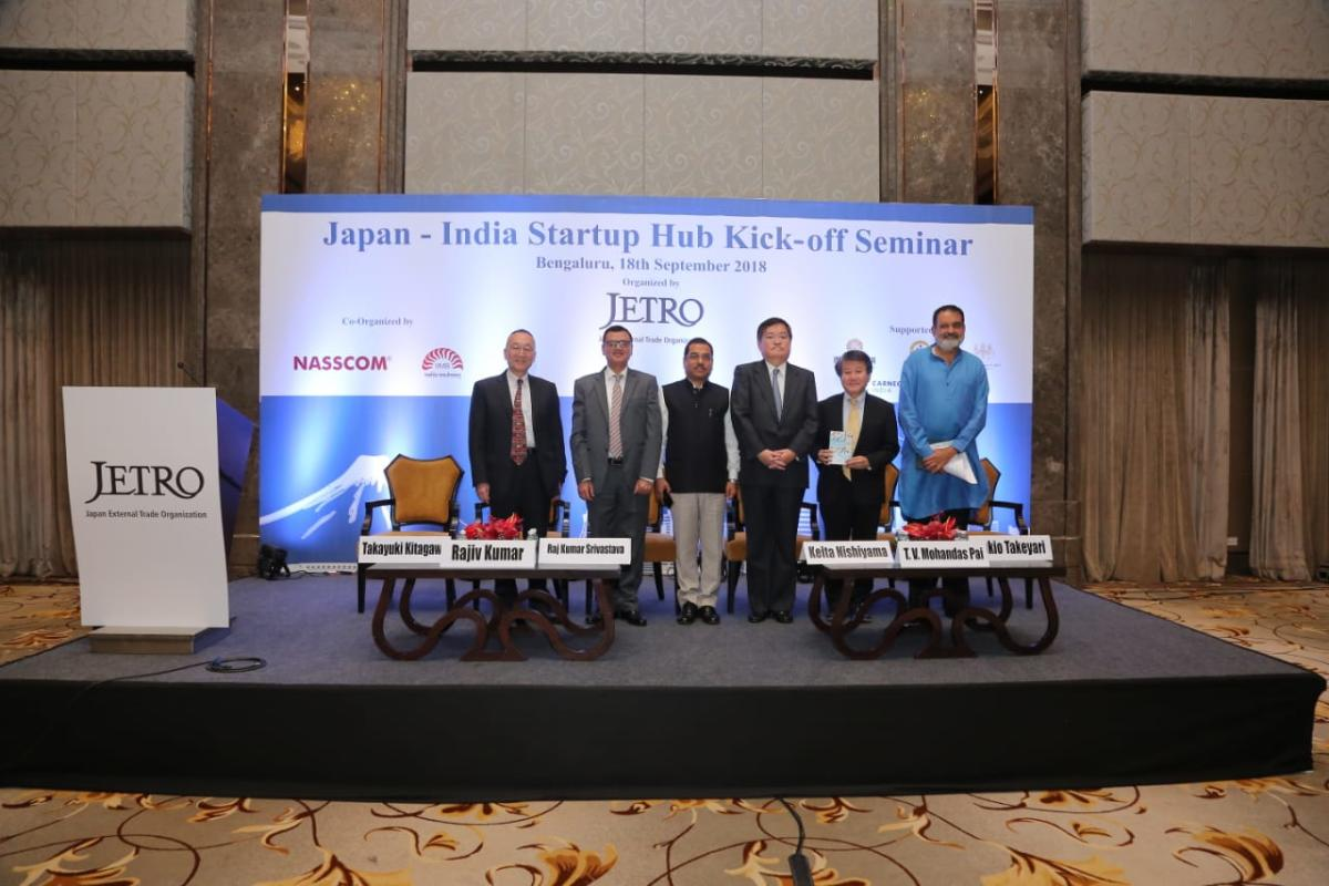Speakers at the networking seminar organised on Tuesday by Japanese External Trade Organisation (Jetro) as part of Indo-Japan Startup Hub in Bengaluru.