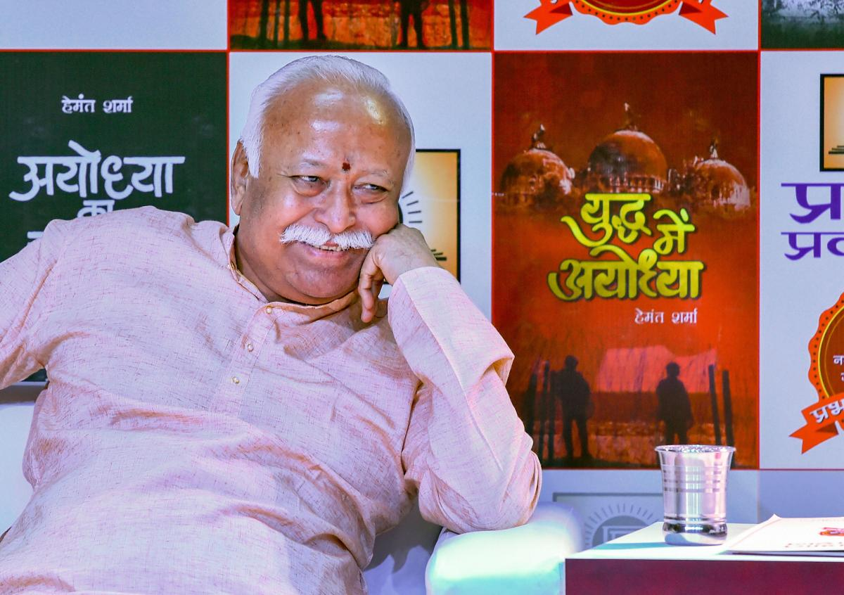 RSS chief Mohan Bhagwat during a book release function in New Delhi, on Thursday. PTI