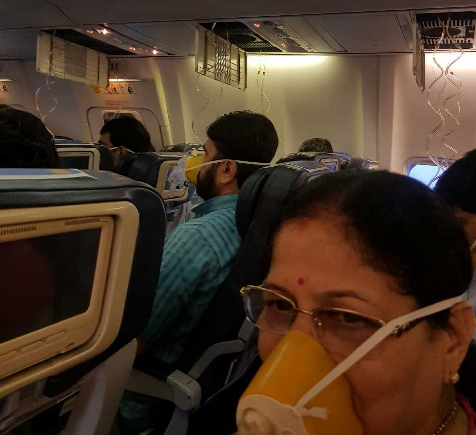 "There were screaming and cries and many of his co-passengers suffered nose and ear bleeding as the crew of the Jet Airways flight ""forgot"" to turn on a switch that controls cabin air pressure. (Screen grab)"