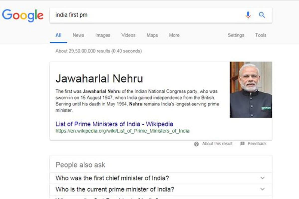 Screenshot of Google search result for the term 'India first pm'.