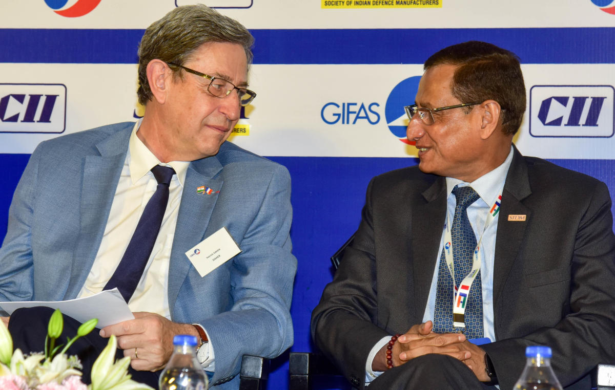 Lt. General Subrata Saha, PVSM, UYSM, YSM, VSM (Retd) having a word with Patrick Daher,Vice Chairman of GIFAS, Chairman & CEO, Daher Aerospace (Left) are seen at the CII Conference on Indo-French Defence & Aerospace Cooperation, at Hotel Shangri-La, in Bengaluru on Tuesday. Photo/ B H Shivakumar