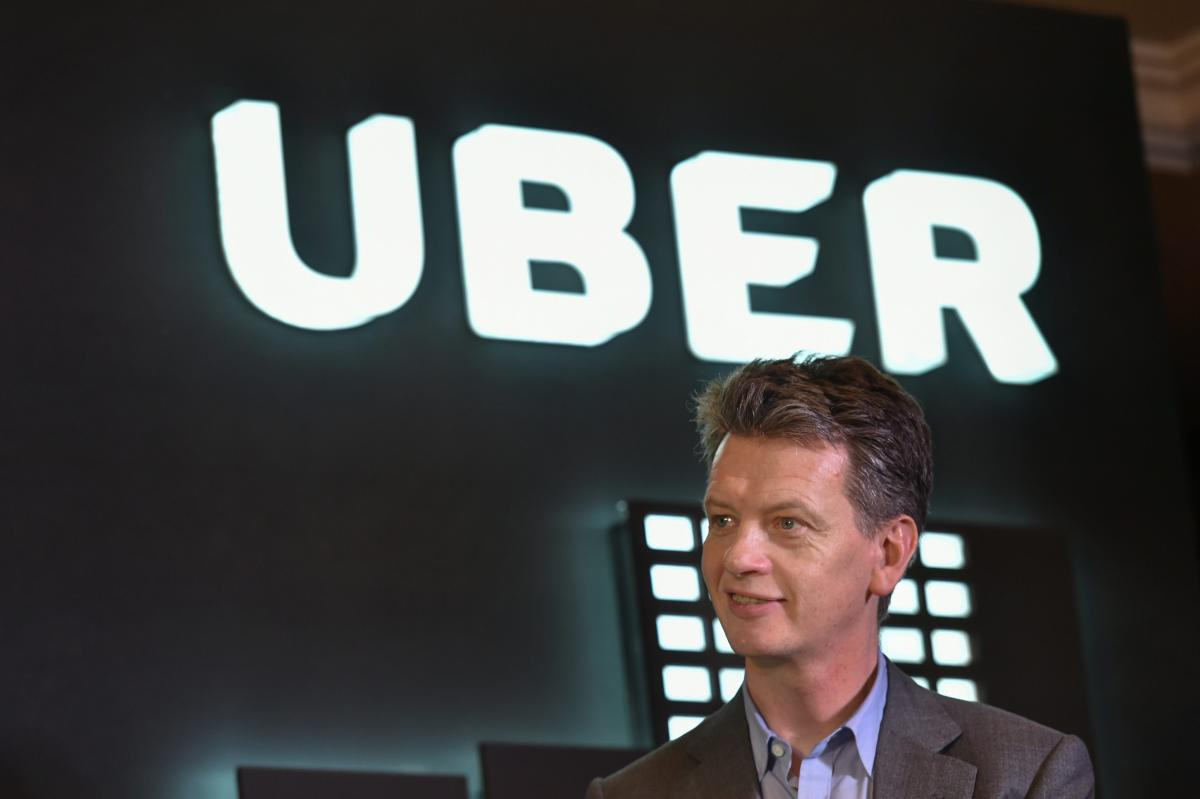 "Uber Chief Operating Officer Barney Harford during the launch of the Boston Consulting Group's study ""Unlocking Cities: The Impact of Ridesharing Across India"" in New Delhi, on Wednesday. PTI"