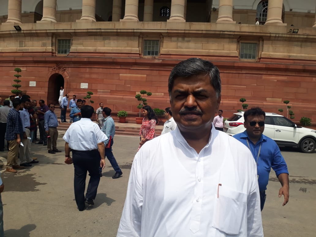 B K Hariprasad in front of Parliament after Opposition declared his candidature for Rajya Sabha deputy chairman post on Wednesday. (DH Photo)