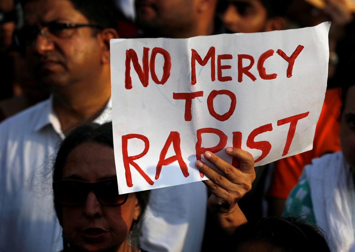 People participate in a protest against the rape of an eight-year-old girl in Kathua near Jammu. Reuters file photo