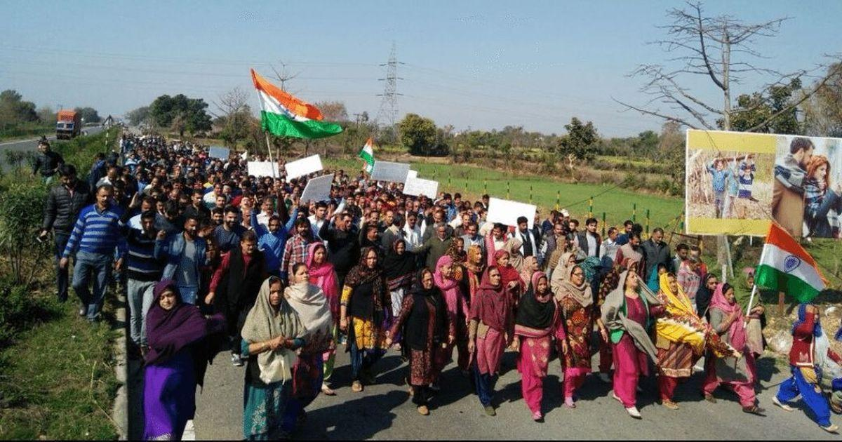 Hindu Ekta Manch's rally in support of the Kathua rape and murder accused. via Twitter