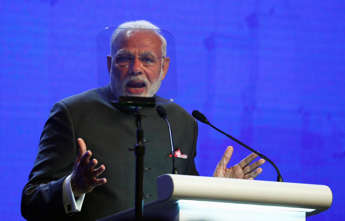 India's Prime Minister Narendra Modi delivers the keynote address at the IISS Shangri-la Dialogue in Singapore. PTI Photo