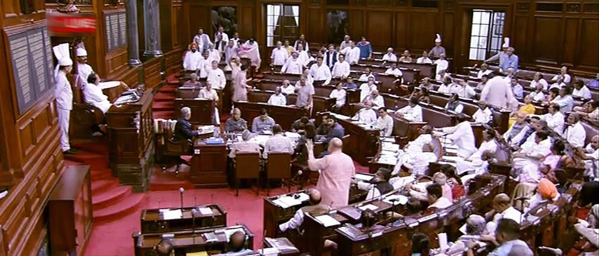 A view of the Rajya Sabha as the proceedings are being conducted during the Monsoon session of Parliament. (RSTV GRAB via PTI)