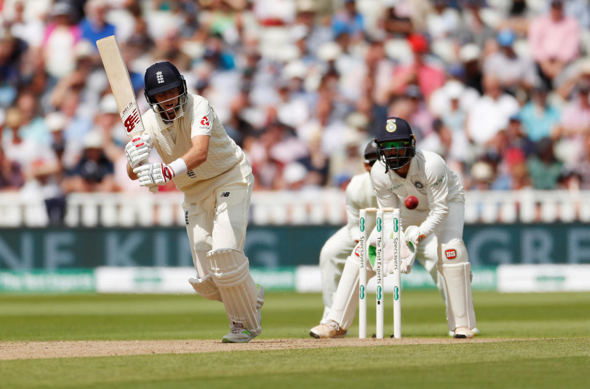 Joe Root en route to his half-century against India on Wednesday.