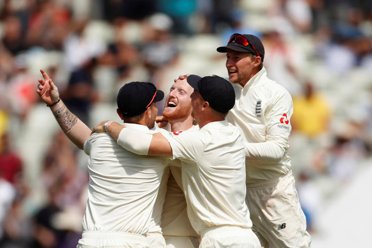 THAT'S IT: England's Ben Stokes (centre) celebrates with team-mates after dismissing Hardik Pandya, the last Indian batsman to fall in the opening Test on Saturday. Reuters