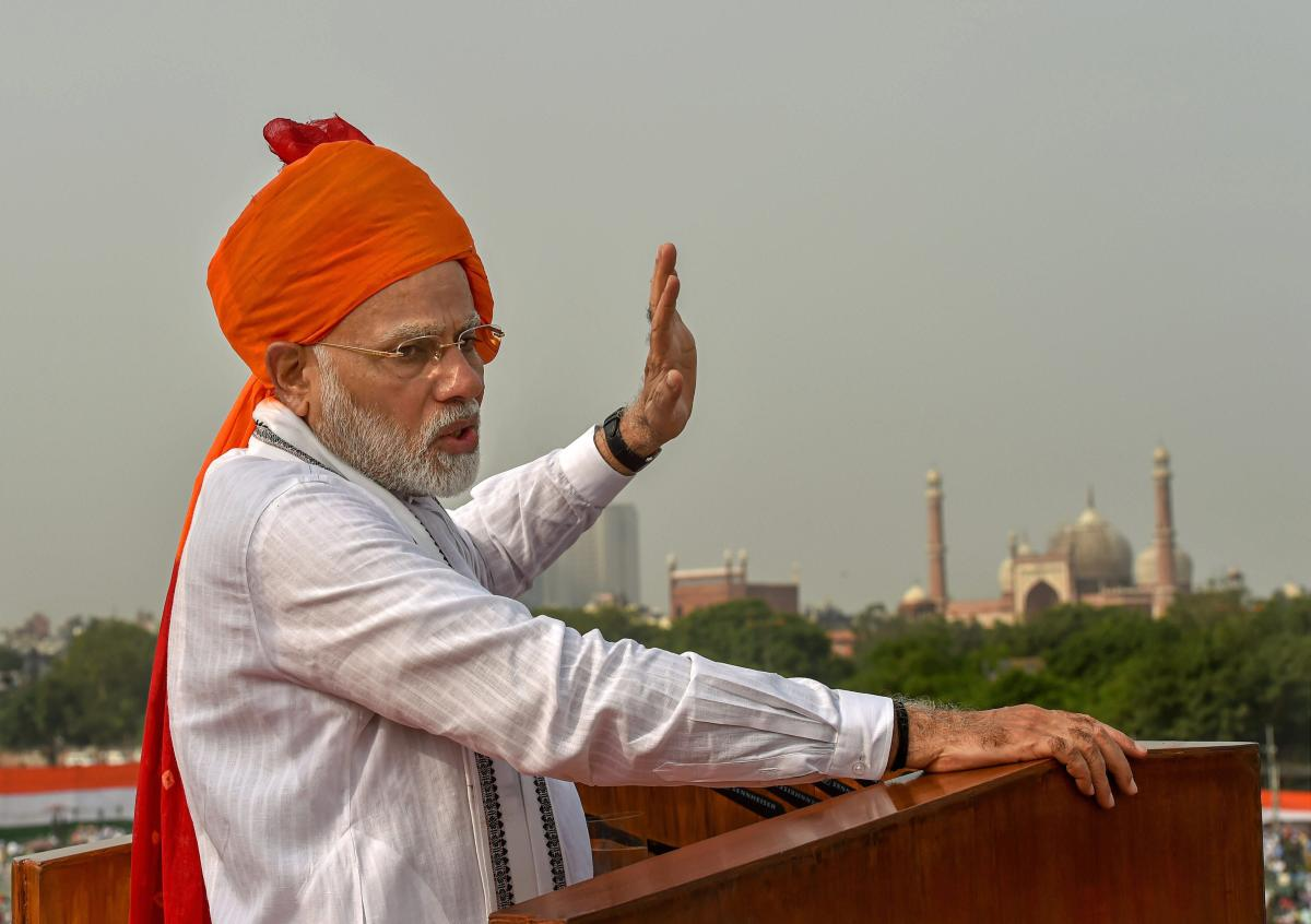 Prime Minister Narendra Modi addresses the nation from the ramparts of the historic Red Fort on the occasion of 72nd Independence Day, in New Delhi on Wednesday. PTI