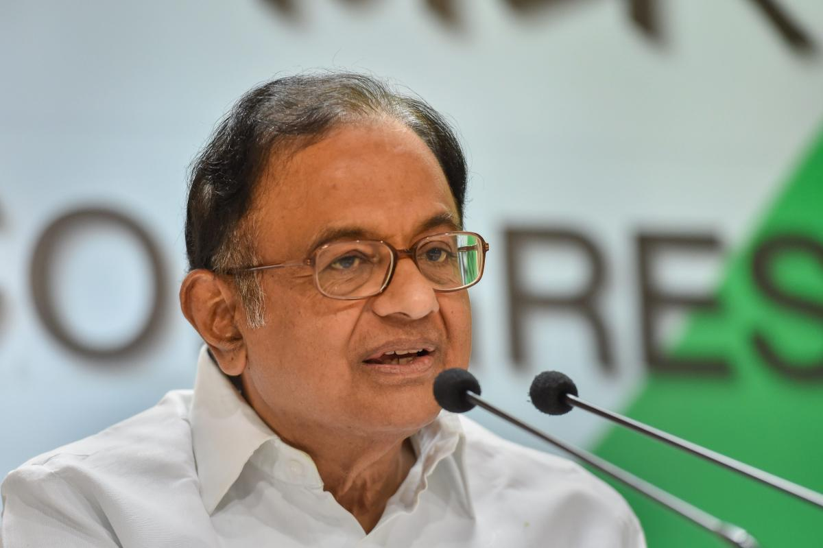Senior Congress leader P Chidambaram speaks during a press conference at AICC Headquarters, in New Delhi on Sunday. PTI