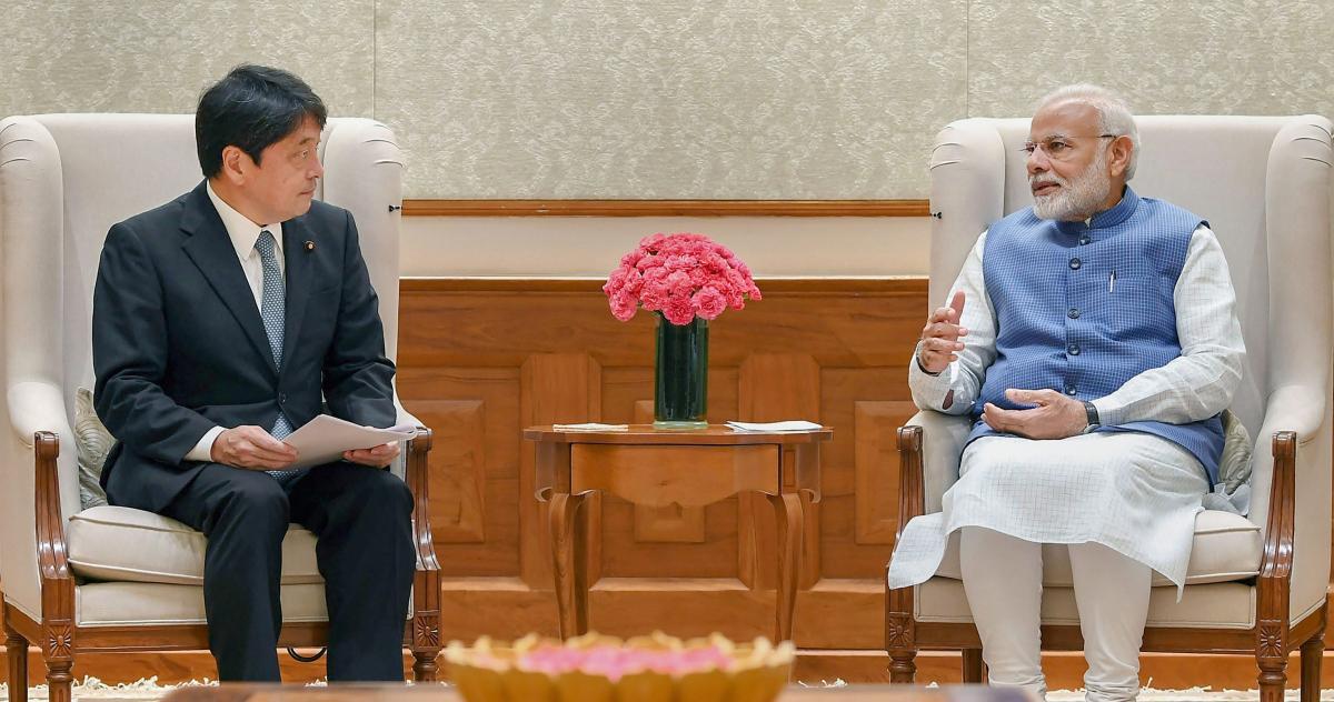 Defence Minister of Japan Itsunori Onodera calls on the Prime Minister Narendra Modi, on Monday. PTI