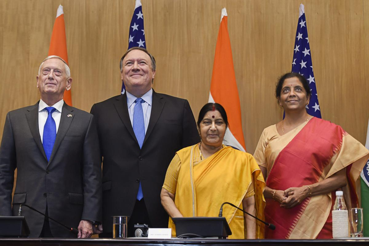 External Affairs Minister Sushma Swaraj, Defence Minister Nirmala Sitharaman, U.S Secretary of State Mike Pompeo and US Secretary of Defense James Mattis at the joint press conference, in New Delhi on Thursday, Sept 6, 2018. (PTI Photo)
