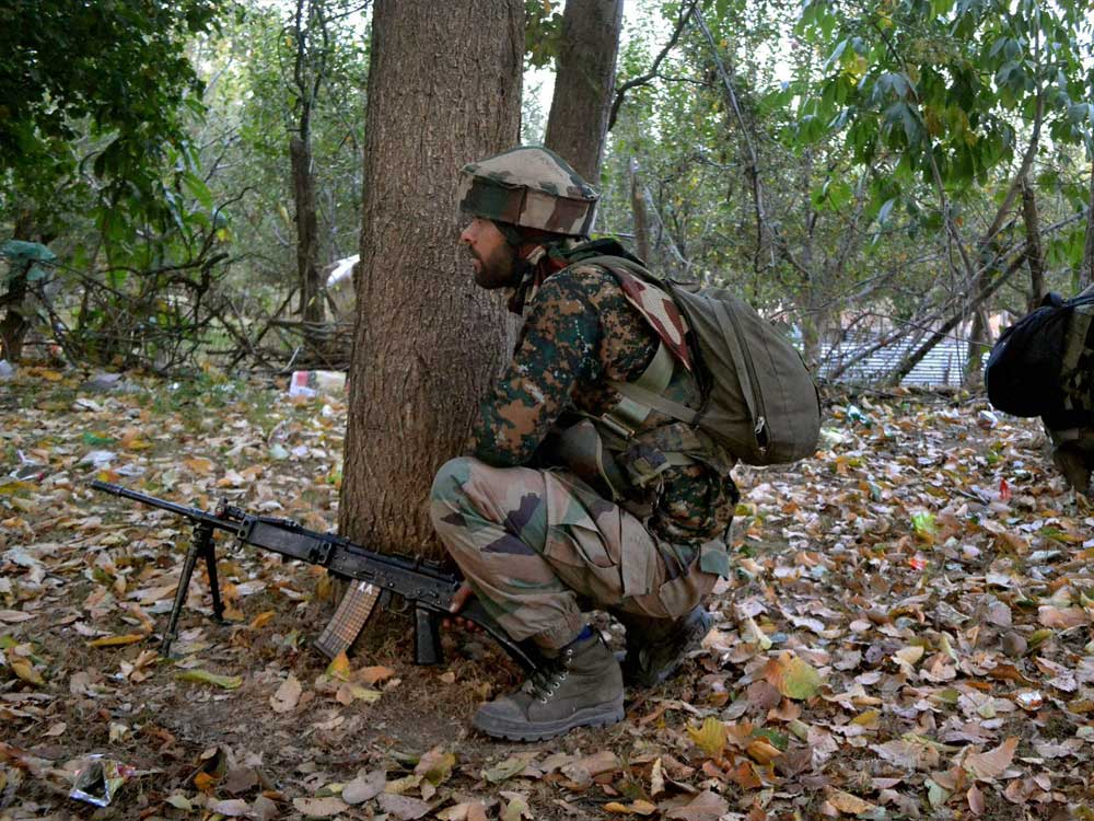 An army official said soldiers of 15 Rashtriya Rifles intercepted a group of militants, believed to be fresh infiltrators, at Brinjal forest in Vilgam, Handwara. File photo