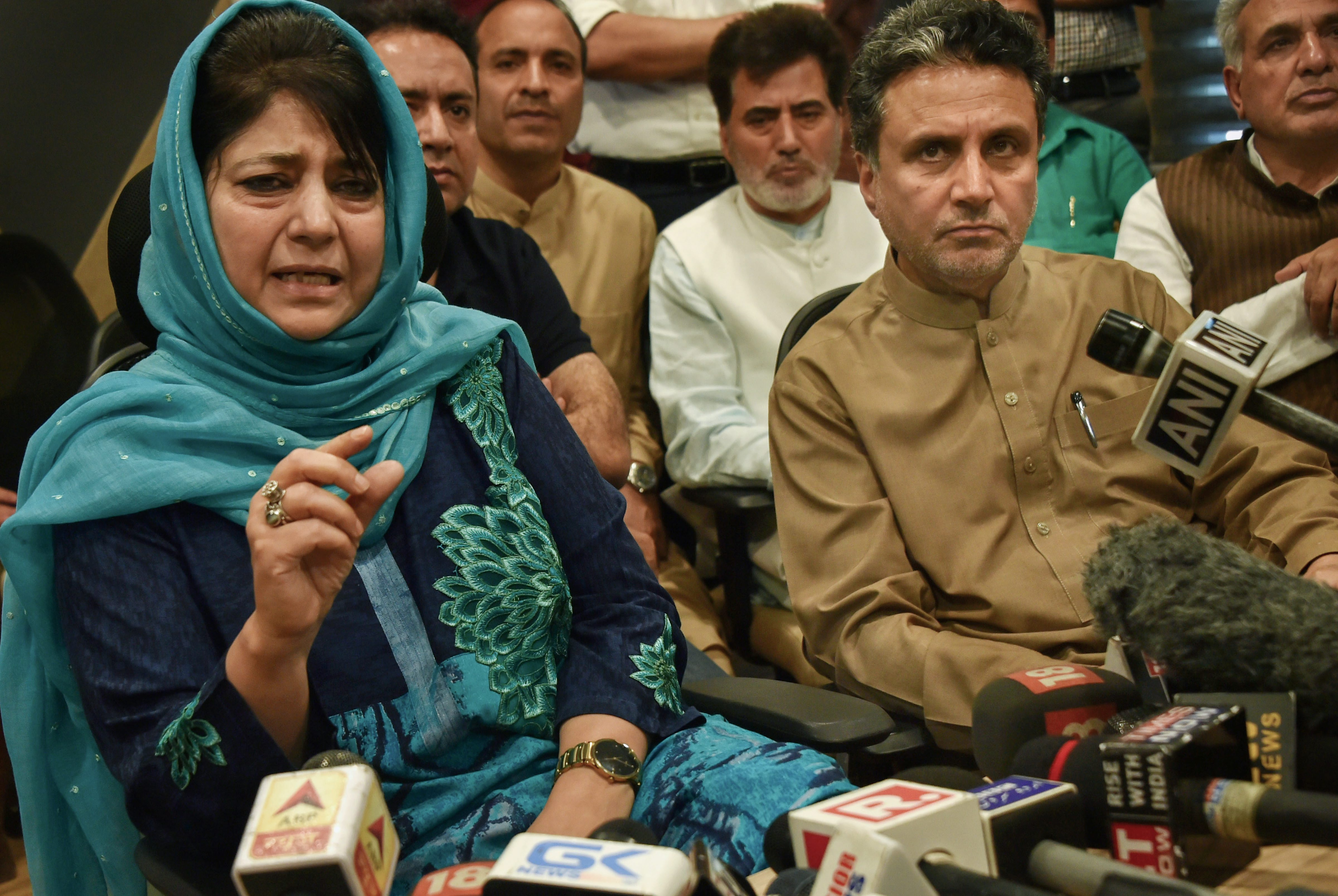 Outgoing Jammu and Kashmir Chief Minister Mehbooba Mufti addresses a press conference in Srinagar on Tuesday. PTI