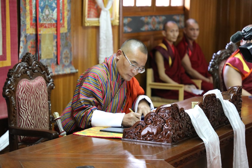 Tshering Tobgay led People's Democratic Party (PDP), which was in power in the country since 2013, lost the primary polls. (Image courtesy: Twitter/@PMBhutan)
