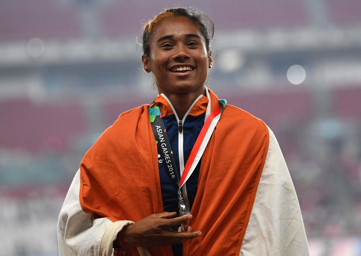 DHING EXPRESS: Hima Das won three medals at the Asian Games, gold in the 4x400 relay, silver in the mixed 4x400 relay as well as the 400 flat. AFP