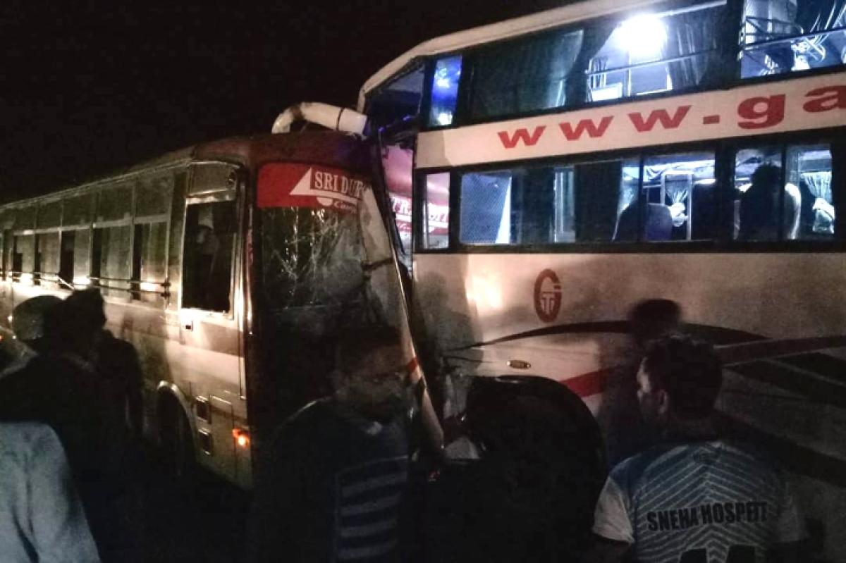 Two buses which collided at Trasi in Baindoor late on Thursday night.
