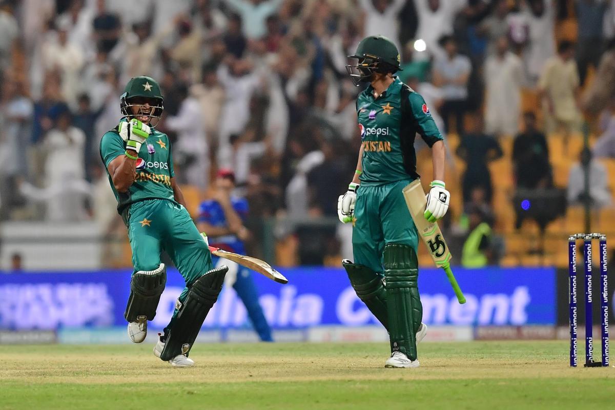 Shoaib Malik (left) celebrates after guiding Pakistan to victory