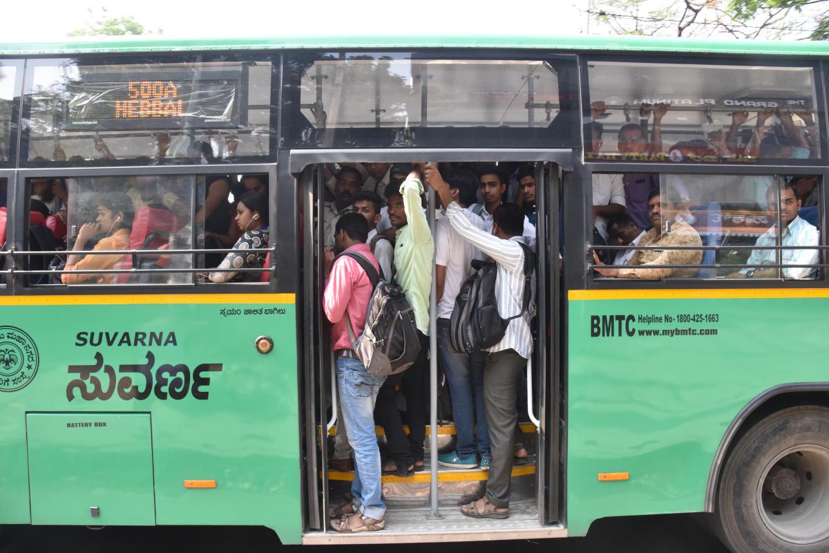 Passengers in city Bus, in Bengaluru. Photo by S K Dinesh