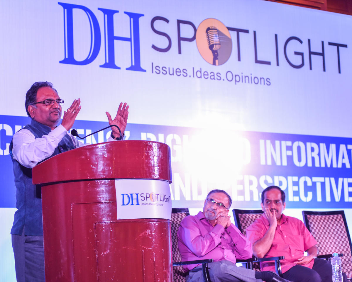 Central Information Commissioner M Sridhar Acharyulu speaks at a DH Spotlight event on 'Citizens' Right to Information: Issues and Perspectives' in Bengaluru on Saturday. Former CIC Shailesh Gandhi and RTI activist Venkatesh Nayak are seen. DH PHOTO/S K DINESH