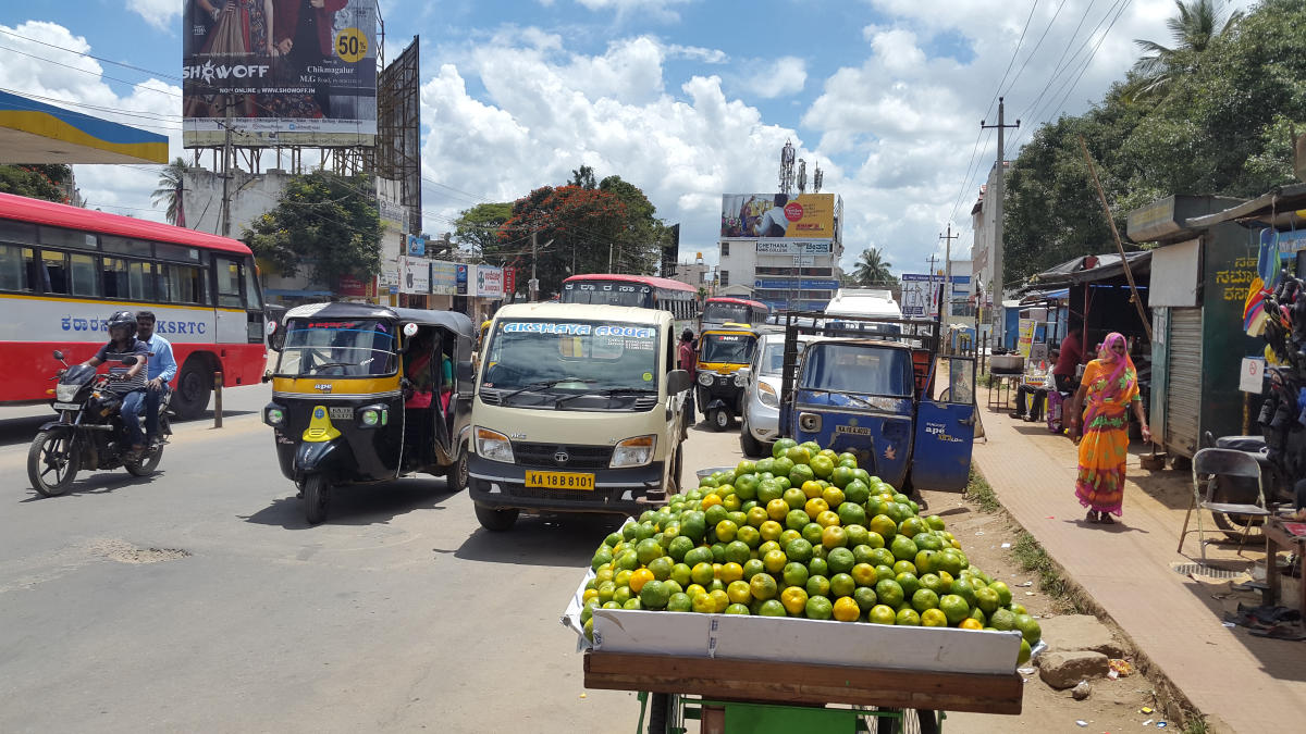 Vehicles near the KSRTC bus stand on IG Road in Chikkamagaluru.