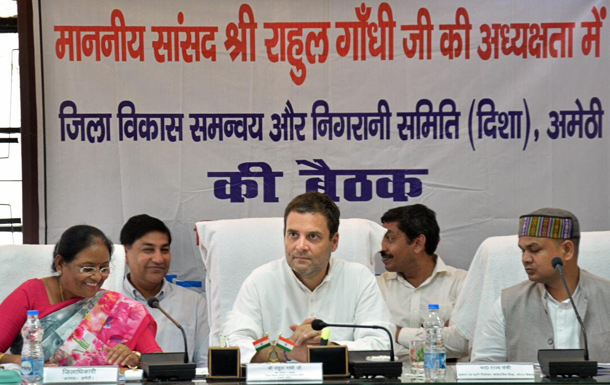 Congress president Rahul Gandhi presides over a meeting, on a two-day visit to his Parliamentary constituency of Amethi on Tuesday. PTI