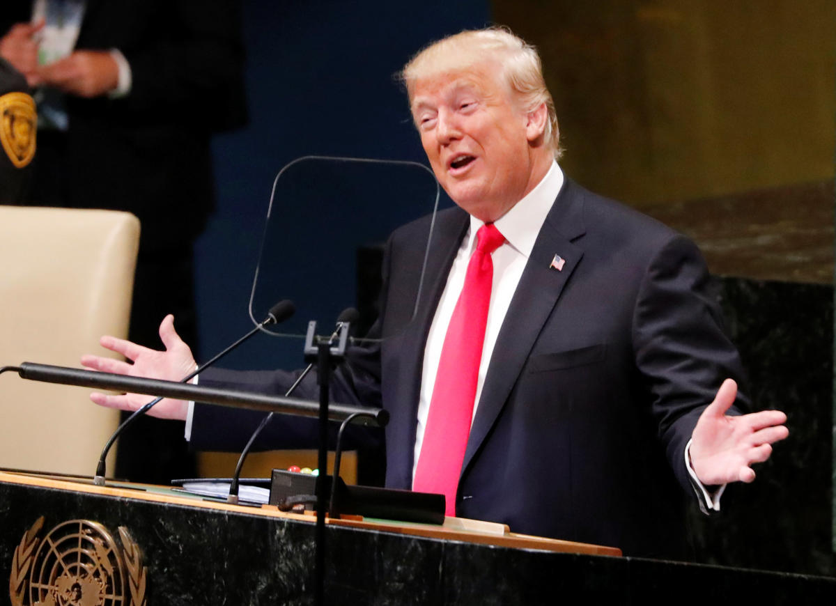 U.S. President Donald Trump addresses the 73rd session of the United Nations General Assembly at U.N. headquarters in New York, U.S., September 25, 2018. REUTERS/Carlos Barria