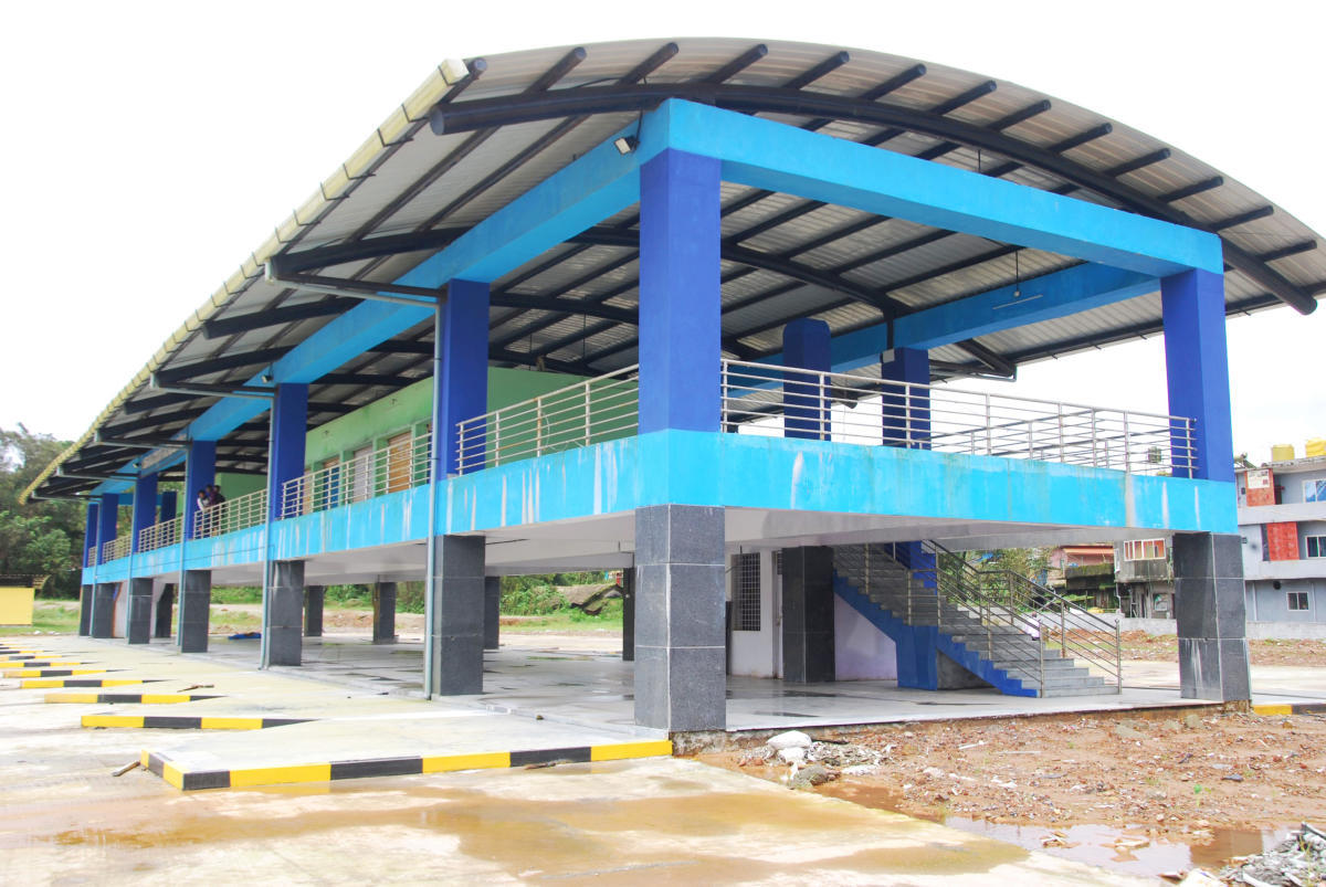 A view of the newly built private bus stand at Race Course Road in Madikeri.