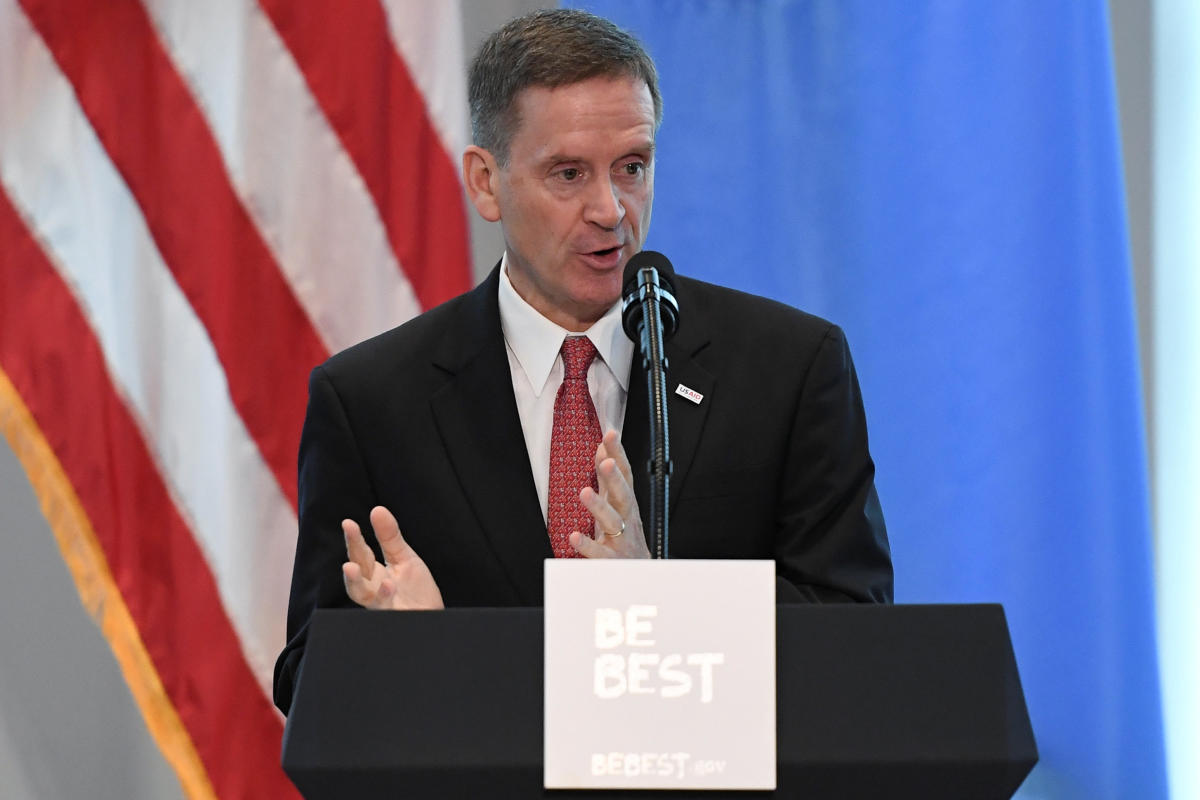 USAID administrator Mark Green on the sidelines of the United Nations General Assembly in New York City on September 26, 2018. Reuters