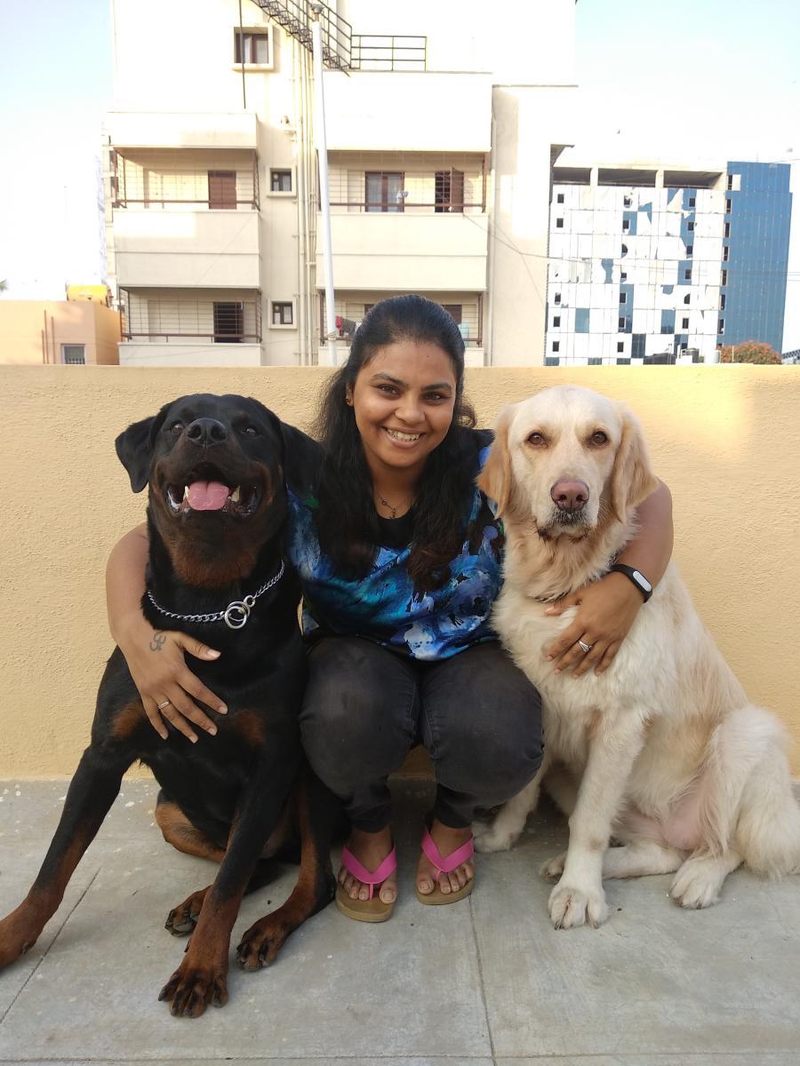 Sreeja Sreedharan with Charlie and Cairo.