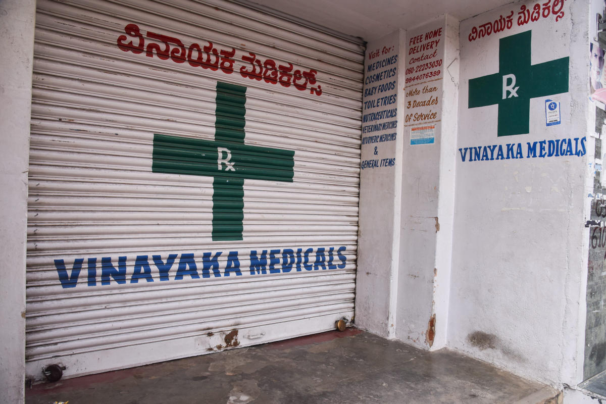 A medical store downed its shutter as chemists staged a protest against the Centre for registering e-pharmacies in the city on Friday. DH Photo/SK Dinesh