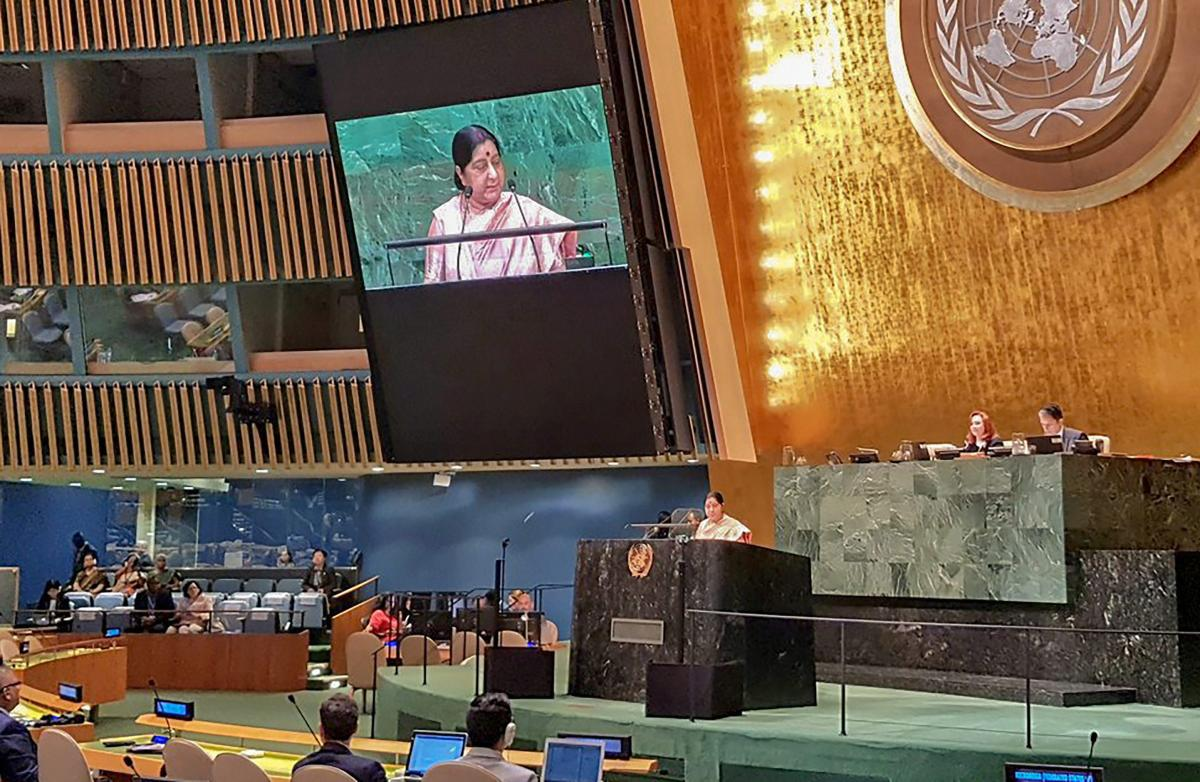 External Affairs Minister Sushma Swaraj addresses the 73rd United Nations General Assembly, at the UN Headquarters on Saturday, Sept 29, 2018. (MEA Twitter via PTI)