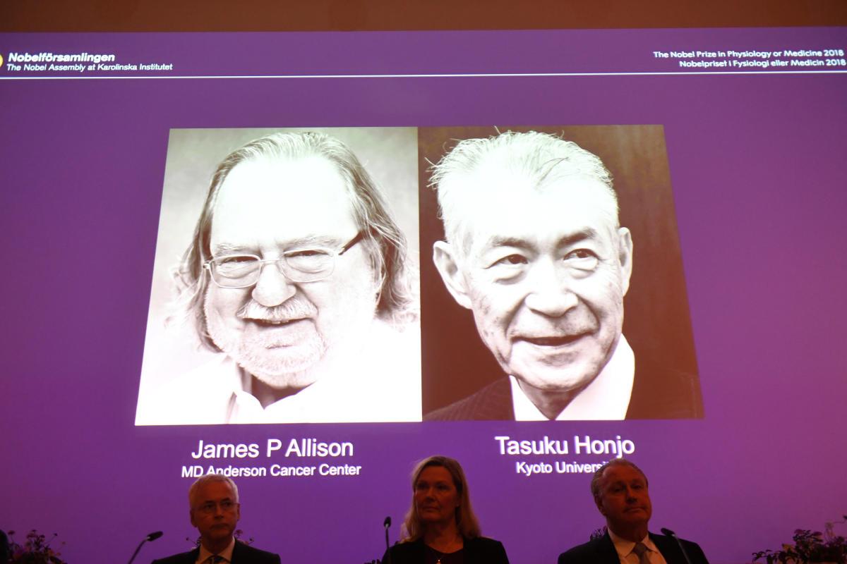 The Nobel Prize laureates for Medicine or Physiology 2018 are James P. Allison, U.S. and Tasuku Honjo, Japan presented at the Karolinska Institute in Stockholm, Sweden October 1, 2018. TT News Agency/Fredrik Sandberg via REUTERS