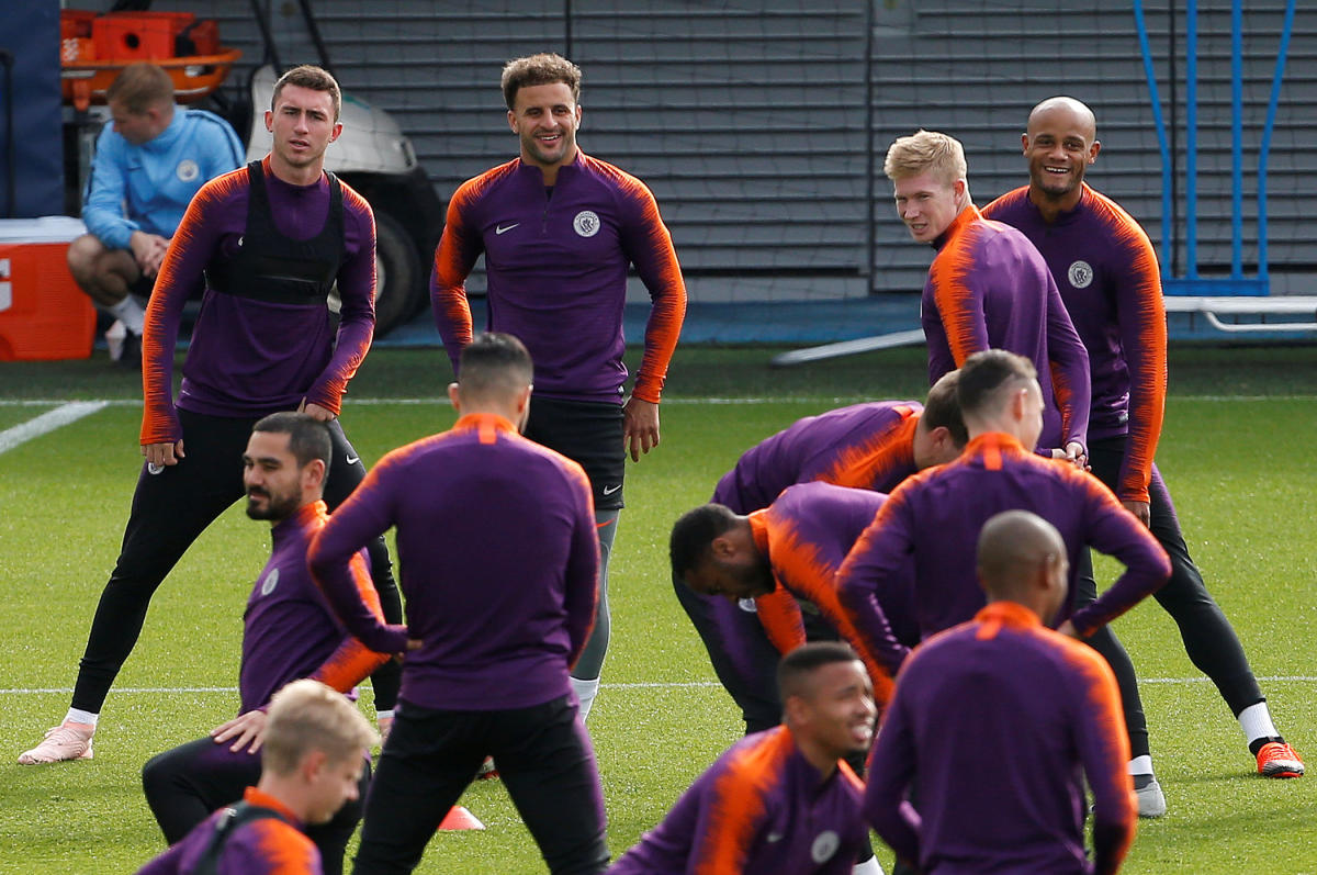 Manchester City's players during a training session ahead of their Champions League clash against Hoffenheim on Tuesday. Reuters