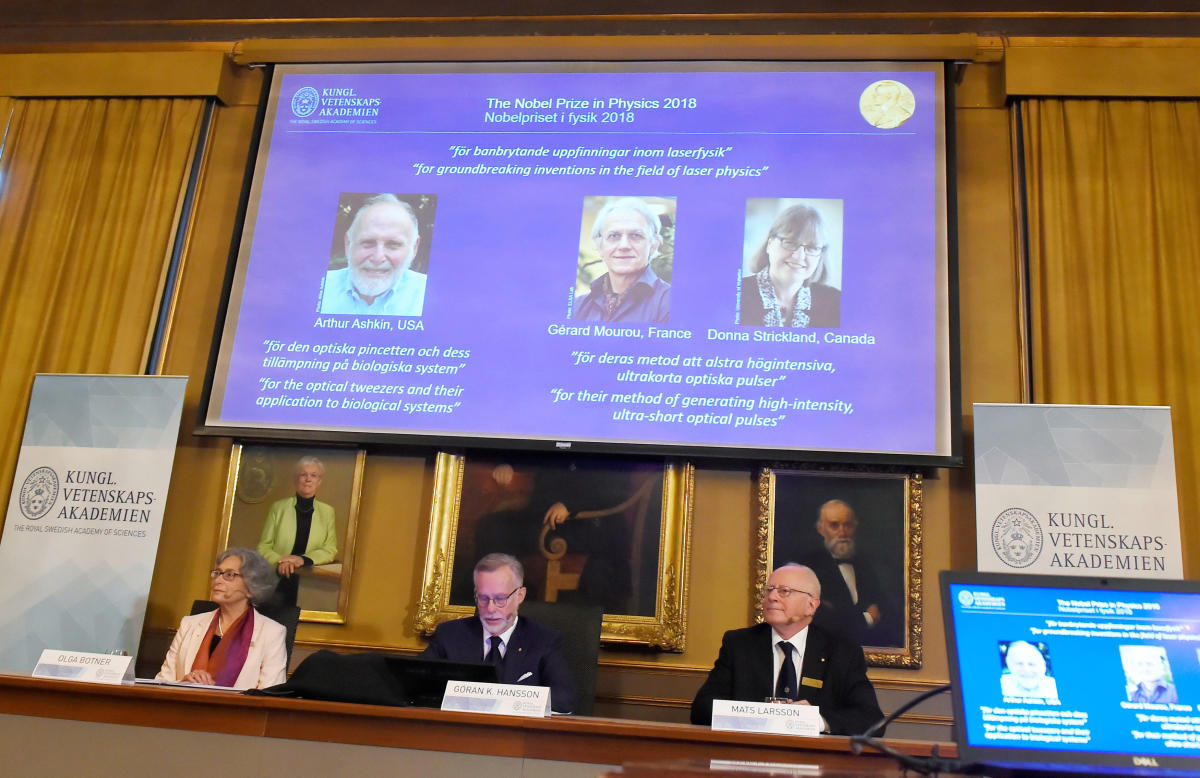 The Nobel Prize laureates for physics 2018 Arthur Ashkin of the United States, Gerard Mourou of France and Donna Strickland of Canada are announced at the Royal Swedish Academy of Sciences in Stockholm, Sweden. Reuters Photo
