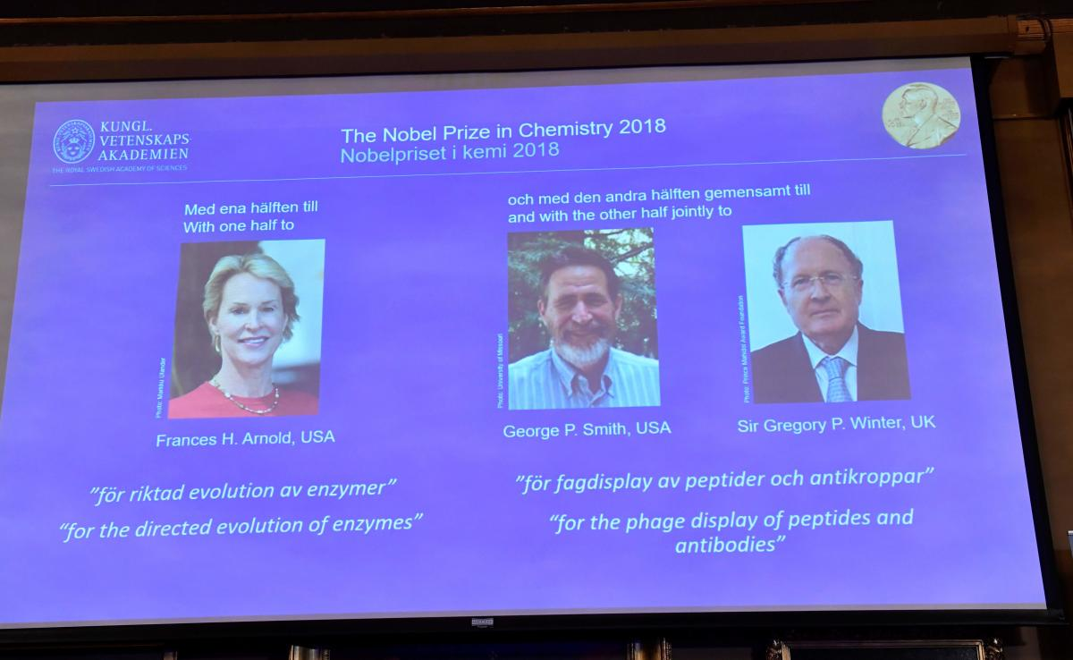 A screen displays portraits of Frances H Arnold of the United States, George P Smith of the United States and Gregory P Winter of Great Britain during the announcement of the winners of the 2018 Nobel Prize in Chemestry at the Royal Swedish Academy of Sciences on October 3, 2018 in Stockholm. (AFP photo)