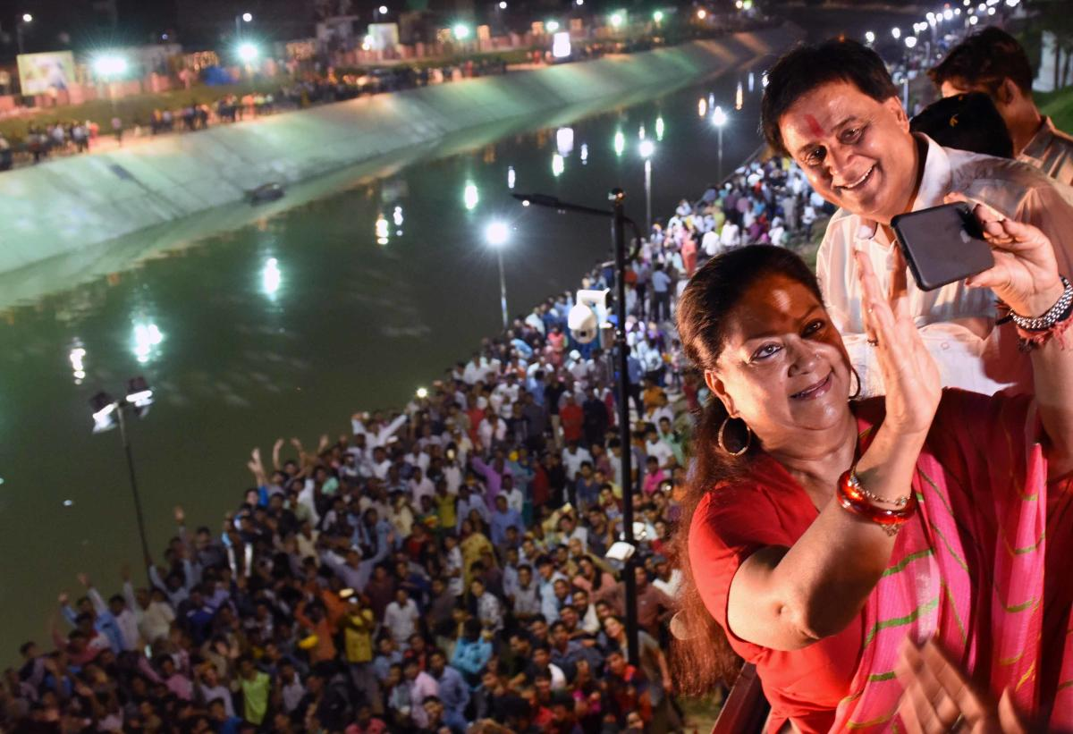 Rajasthan Chief Minister Vasundhara Raje clicks a selfie after inaugurating the Dravyavati River Rejuvenation Project in Jaipur on Wednesday.