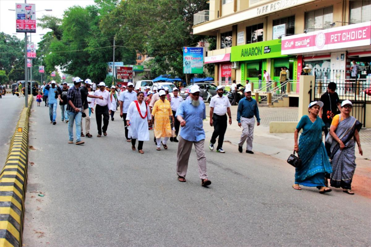 Senior citizens, students and staff of Occupational Therapy Department, School Of Allied Health Sciences, Manipal, take part in the walkathon in Udupi.