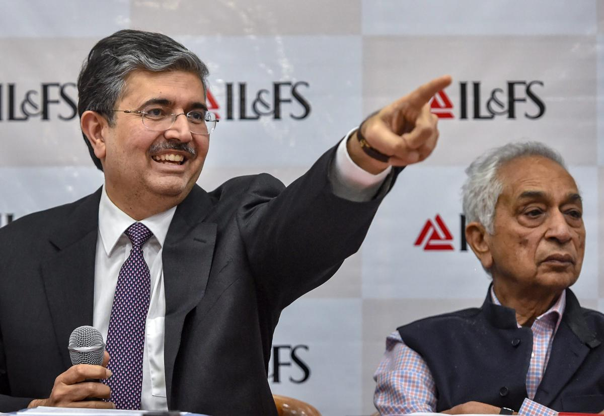 Uday Kotak, newly appointed non-executive chairman of IL&FS, speaks during a press conference in Mumbai, Thursday. Newly appointed CMD Vineet Nair is also seen. (PTI photo)