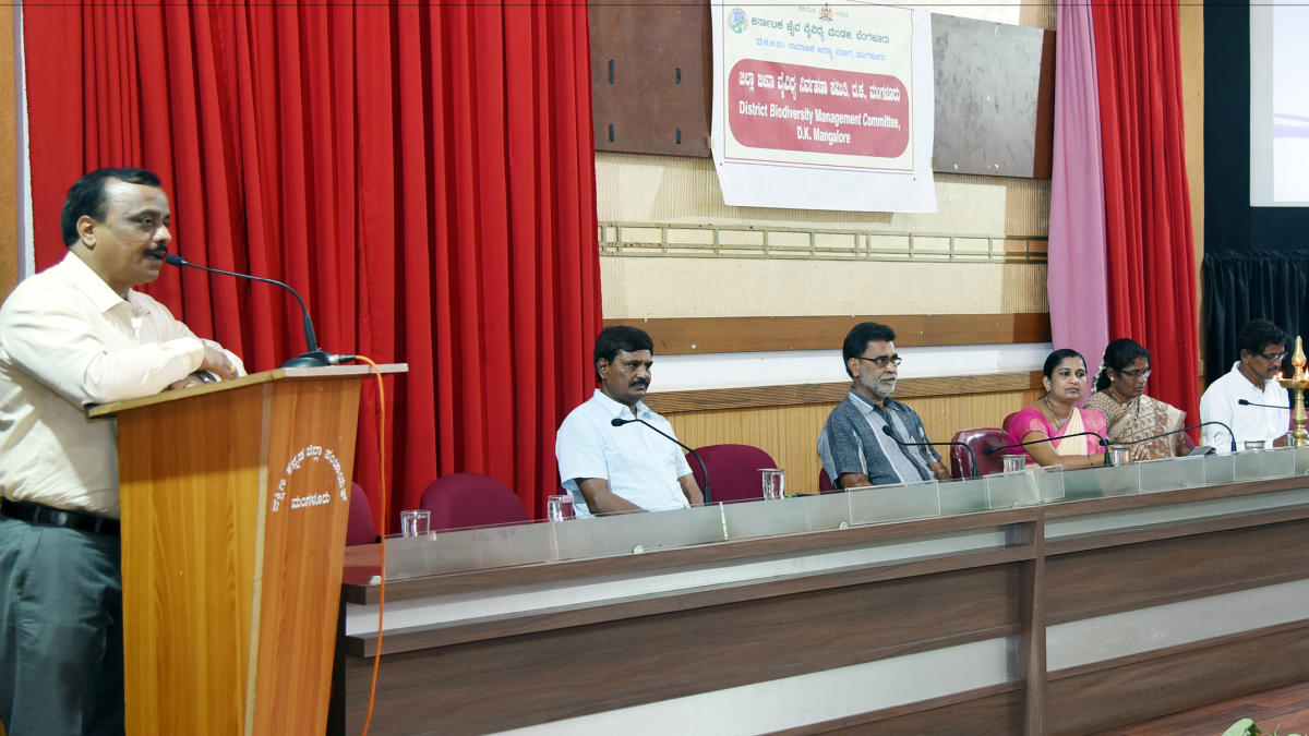 Social Forestry Department DCF J Srinivasmurthy speaks at a workshop.