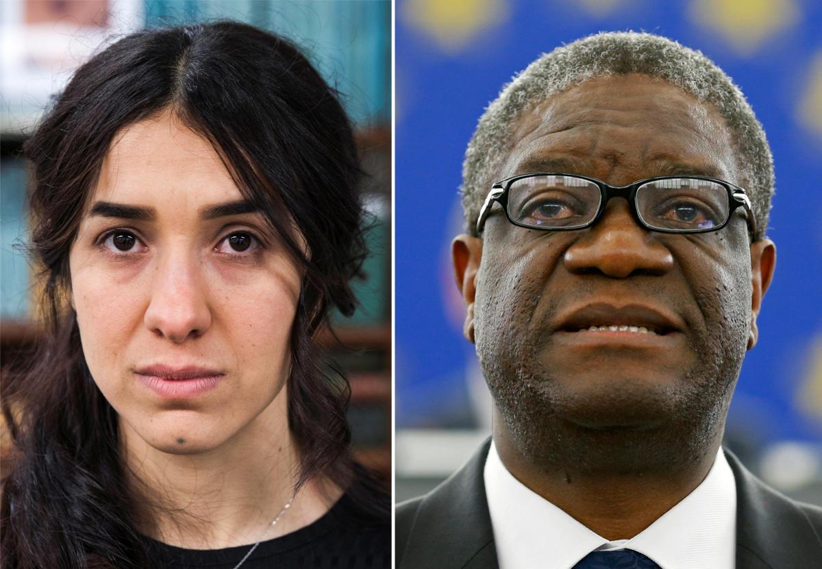 Nobel Prize for Peace 2018 winners: Yazidi survivor Nadia Murad (L) and Denis Mukwege. REUTERS Photo