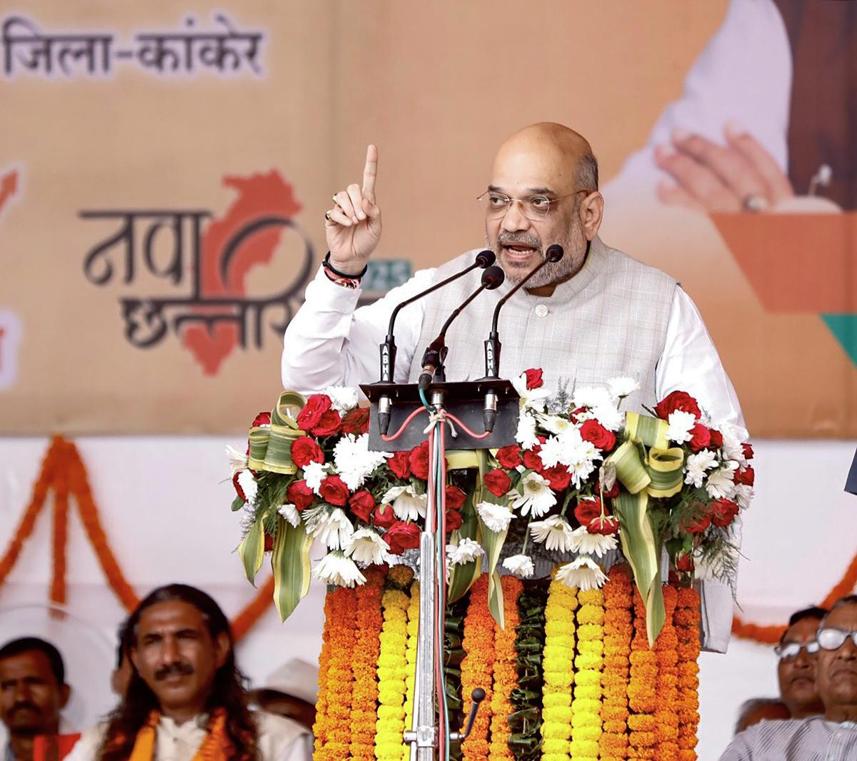 BJP president Amit Shah on Saturday formally launched the party's mass contact campaign in the Malwa-Nimad region of poll-bound Madhya Pradesh. PTI photo