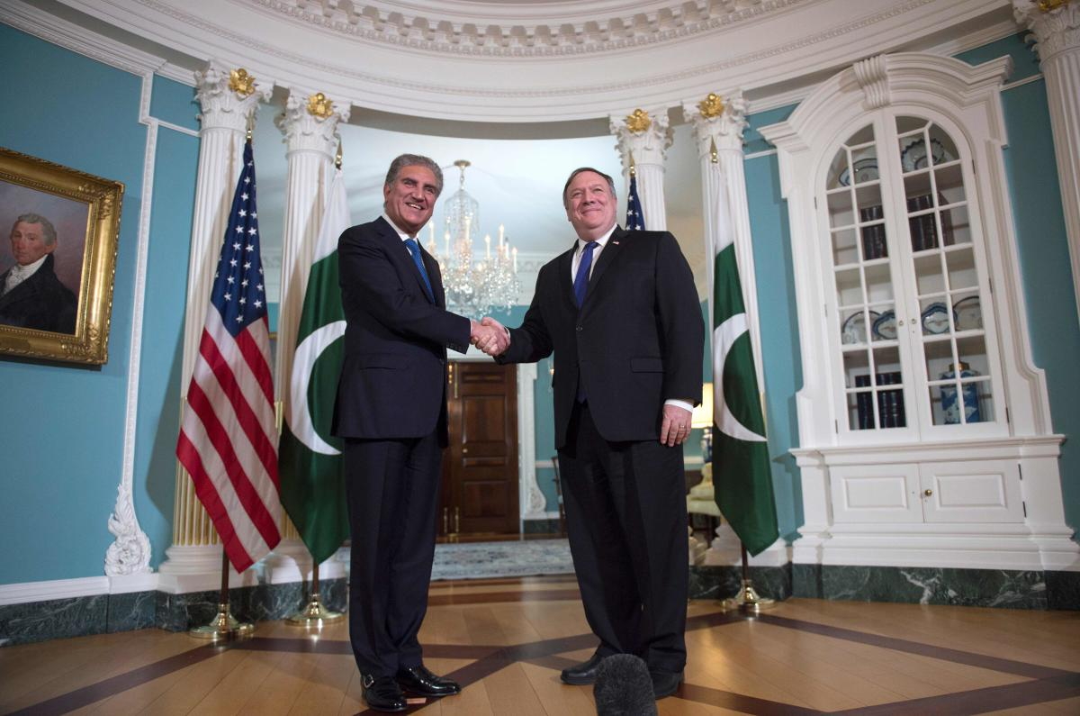US Secretary of State Mike Pompeo (R) meets with Pakistani Foreign Minister Shah Mehmood Qureshi at the US State Department in Washington. (AFP File Photo/ANDREW CABALLERO-REYNOLDS)