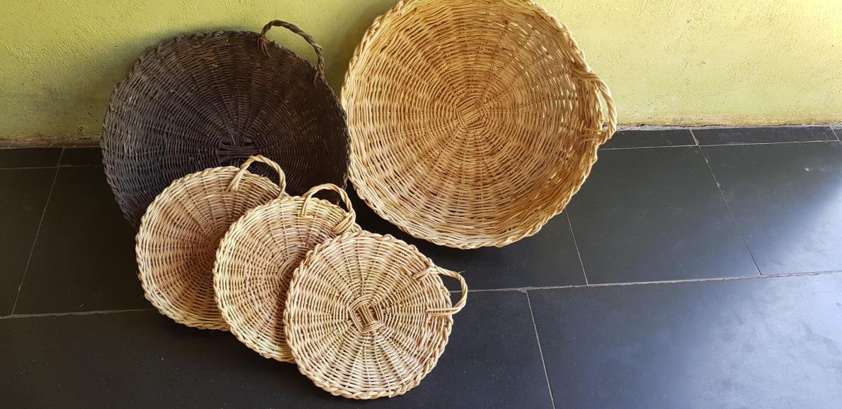 Ittu from Palli, coastal Karnataka, weaves baskets using wild vines.
