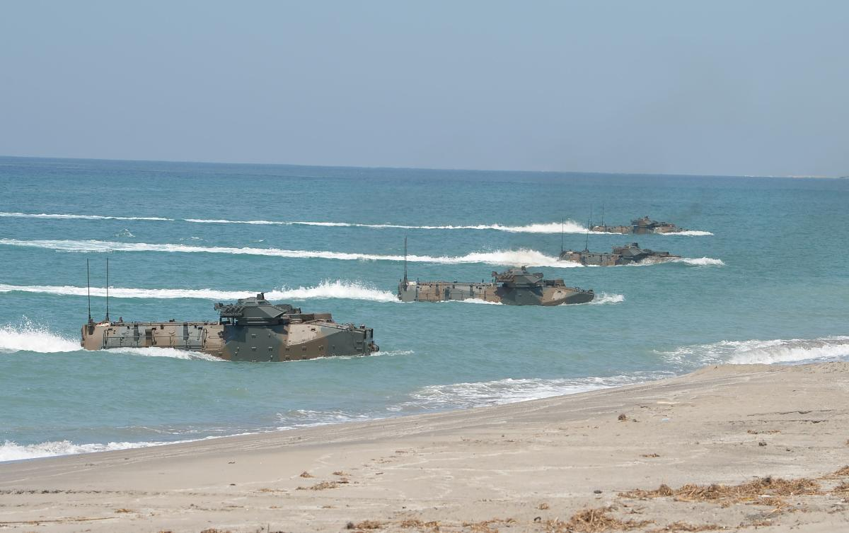 Japanese Ground Home Defence Forces Amphibious Assault Vehicles hit the beach of the Philippine navy training centre facing the South China Sea in San Antonio town, Zambales province, north of Manila on October 6, 2018. AFP